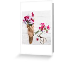 Still Life Sweet Peas with Scissors Greeting Card