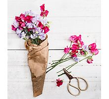 Still Life Sweet Peas with Scissors Photographic Print