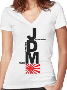 JDM Rising Sun (2) Women's Fitted V-Neck T-Shirt