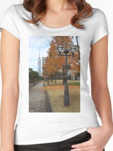 Fukuoka Tower in Fall Women's Fitted Scoop T-Shirt