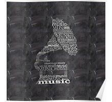 Gramophone on chalkboard Poster