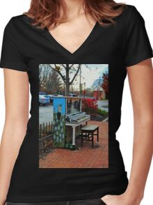 Dropping by for a Ditty in Dublin Women's Fitted V-Neck T-Shirt