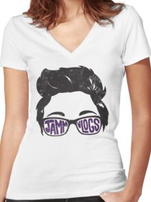 JAMMvlogs Typography Tee (Letterpress) Women's Fitted V-Neck T-Shirt