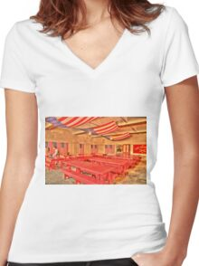 Dining Hall and Photographer Women's Fitted V-Neck T-Shirt