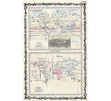 Vintage World Climate & Vegetation Map (1861) Photographic Print