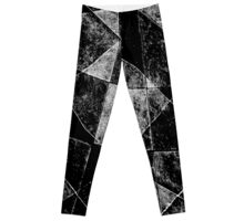 Dark Geometric Grunge Pattern Print Leggings