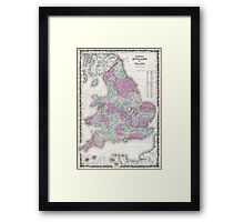 Vintage Map of England (1862) Framed Print