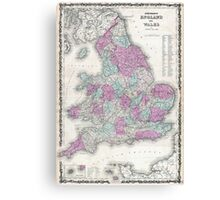 Vintage Map of England (1862) Canvas Print