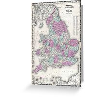 Vintage Map of England (1862) Greeting Card