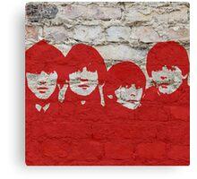 The Beatles Graffiti on Brick Wall Canvas Print
