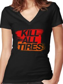 Kill All Tires (3) Women's Fitted V-Neck T-Shirt
