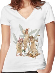 Playing Women's Fitted V-Neck T-Shirt