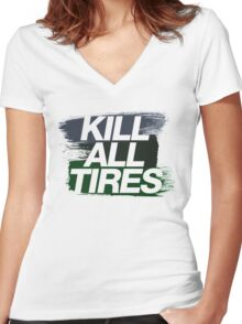 Kill All Tires (4) Women's Fitted V-Neck T-Shirt