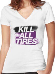 Kill All Tires (6) Women's Fitted V-Neck T-Shirt