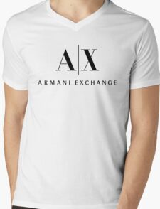 armani exchange- Black Mens V-Neck T-Shirt