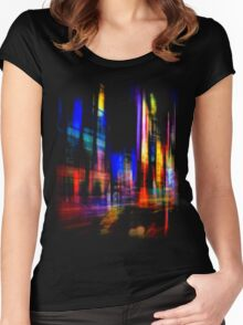 city at night Women's Fitted Scoop T-Shirt