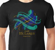 Clan McLaren - Prefer your gift on Black/White, let us know at info@tangledtartan.com Unisex T-Shirt