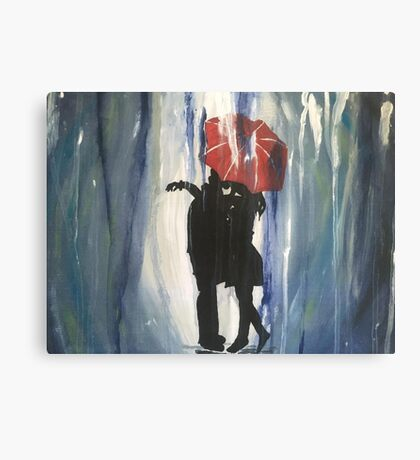 Kissing in the Rain Canvas Print