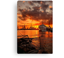 Sunset at the port Canvas Print