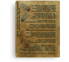 """""""Live Your Life""""  on old parchment, Chief Tecumseh Canvas Print"""