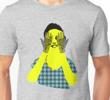 Woman hiding her eyes with henna hands Unisex T-Shirt