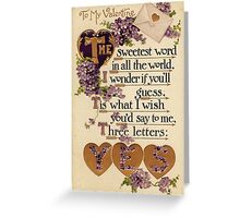 Valentine - yes Greeting Card