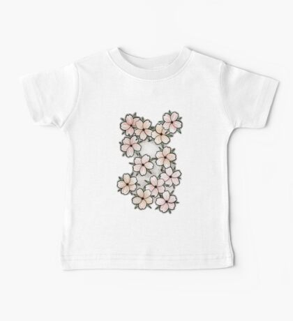 """Blossoms"" Peach. Baby Tee"