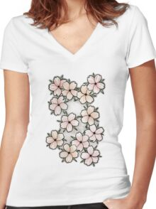 """""""Blossoms"""" Peach. Women's Fitted V-Neck T-Shirt"""