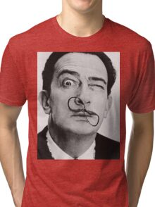 avida dollar = Salvador Dali portrait - 1 figure face Tri-blend T-Shirt