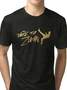 Dare To Zlatan in Manchester Gold Tri-blend T-Shirt