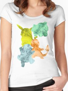 Squirtle, Bulbasaur Pikachu and Charmander Women's Fitted Scoop T-Shirt