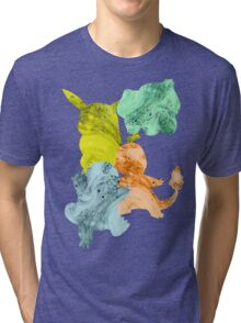 Squirtle, Bulbasaur Pikachu and Charmander Tri-blend T-Shirt