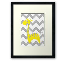 Giraffe Baby Room - Yellow - Gray Framed Print