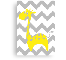 Giraffe Baby Room - Yellow - Gray Canvas Print