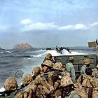 US Marines in a LCVP approaching Iwo Jima, Japan, 19 Feb 1945 by Marina Amaral
