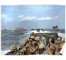 US Marines in a LCVP approaching Iwo Jima, Japan, 19 Feb 1945 Poster