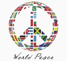World Peace  - Peace Sign with World Nation Flags One Piece - Long Sleeve