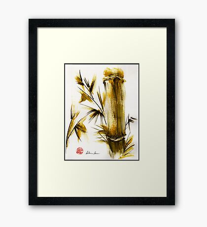 """""""Morning Light"""" Original acrylic and ink bamboo painting. Framed Print"""