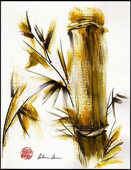 """""""Morning Light"""" Original acrylic and ink bamboo painting. by Rebecca Rees"""