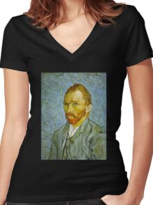 'Self Portrait' by Vincent Van Gogh (Reproduction) Women's Fitted V-Neck T-Shirt
