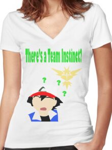 There's a Team Instinct? Women's Fitted V-Neck T-Shirt