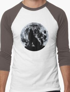 Wolf And Moon Men's Baseball ¾ T-Shirt