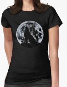 Wolf And Moon Womens Fitted T-Shirt