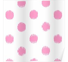 Pink,big,polka dots,on white,girly,cute,modern,trendy,contemporary Poster