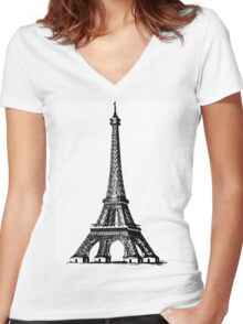 black and white Eiffel Tower Women's Fitted V-Neck T-Shirt