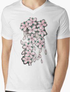 """Blossoms"" Pink Mens V-Neck T-Shirt"