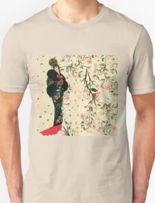 Beautiful,vintage,art deco lady,Gatsby,rustic,floral,painted, Unisex T-Shirt
