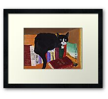 cat on a fantasy bookshelf Framed Print
