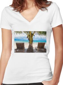 Sunbeds on exotic tropical palm beach Women's Fitted V-Neck T-Shirt