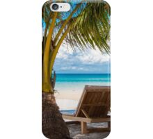 Sunbeds on exotic tropical palm beach iPhone Case/Skin
